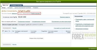 Рабочий экран PayPal